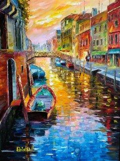 A Joyful Canal in Venice 36x30 Original Painting - Daniel Wall
