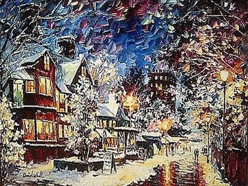 A Cold Winter Evening 2014 24x30 Original Painting - Daniel Wall