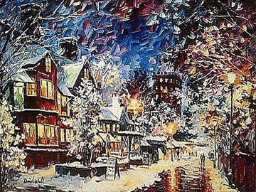 A Cold Winter Evening 2014 24x30 Original Painting by Daniel Wall