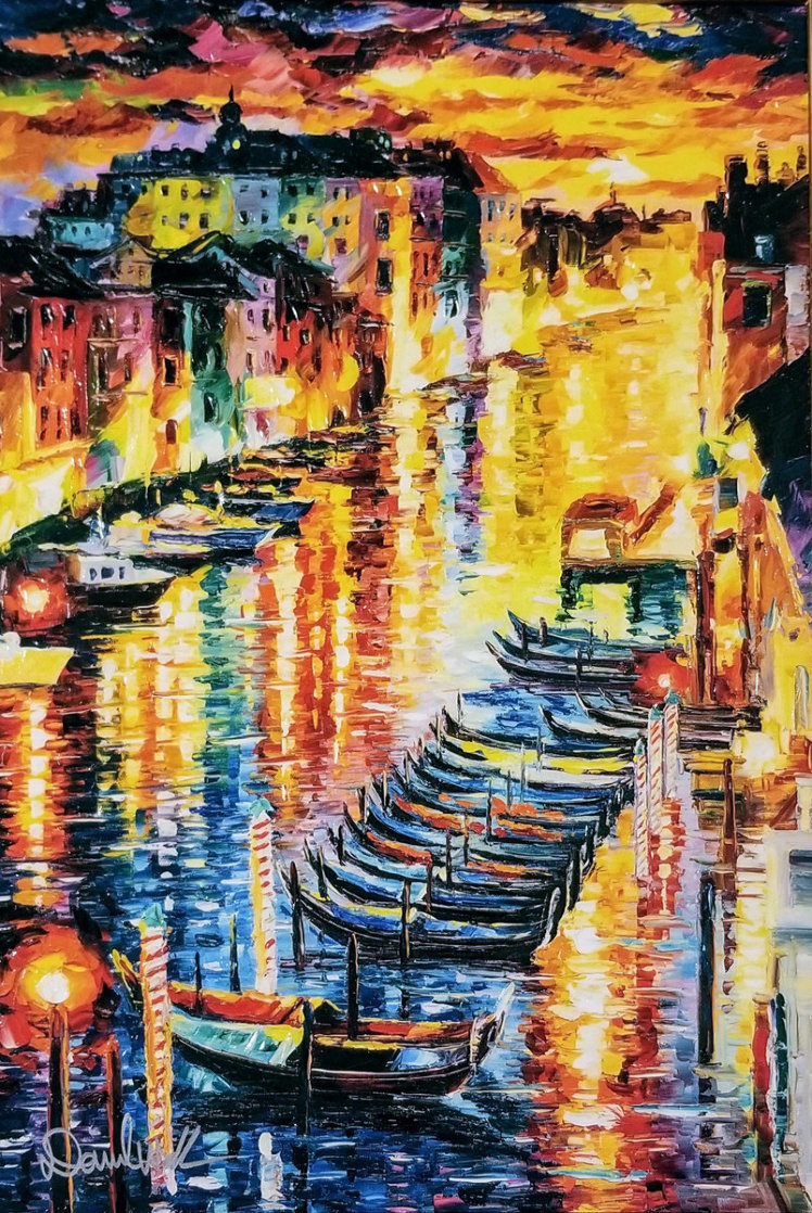 Night Impression of Grand Canal 2017 Embellished Limited Edition Print by Daniel Wall