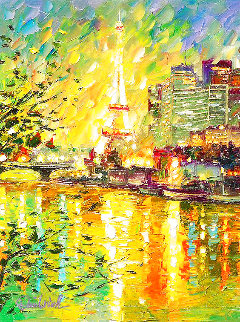 Reflection of Eiffel Tower 2016 Embellished Limited Edition Print - Daniel Wall
