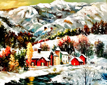 Snow Resort 30x42  Super Huge Original Painting - Daniel Wall