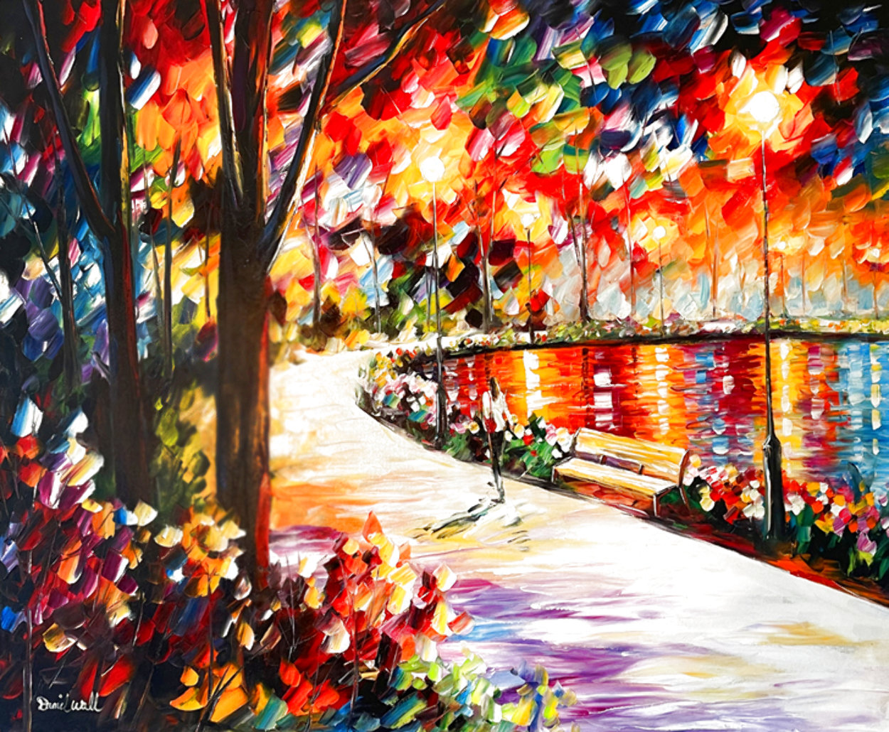 Path By the Lake 2008 37x43 Original Painting by Daniel Wall
