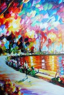 Path By the Lake 30x36 Original Painting - Daniel Wall