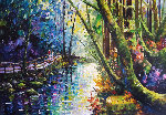 Sunlit Woods 2012 41x34 Original Painting - Daniel Wall