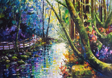 Sunlit Woods 2012 41x34 Original Painting - Daniel Wall