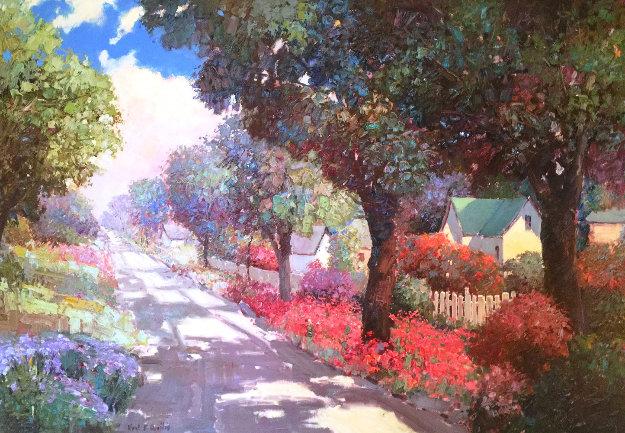 Down a Flowered Street 1991 46x67 Original Painting by Kent Wallis