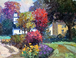 Autumn Neighborhood 1997 37x47 Original Painting - Kent Wallis