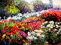 Summer Garden 1992 72x84 Original Painting - Kent Wallis