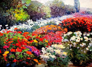Summer Garden 1992 72x84 Super Huge Original Painting - Kent Wallis