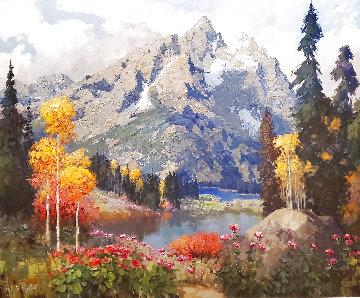 Untitled (Mountain Landscape) 1996 73x86 Original Painting - Kent Wallis