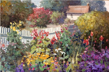 Follow the Fence 1995 60x72 Super Huge Original Painting - Kent Wallis