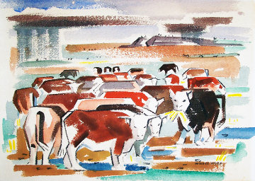 Cows Watercolor 16x20 Watercolor - Walter Hook