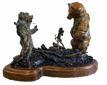 Two Bears Bronze Sculpture 1999 24 in Sculpture - Walt Horton