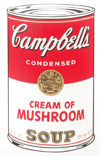 Campbell's Soup (Cream of Mushroom) Exhibition Poster Hand Signed 1980s Limited Edition Print - Andy Warhol
