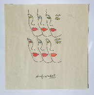Womens' Faces Watercolor 1960 8x8 Watercolor by Andy Warhol - 1
