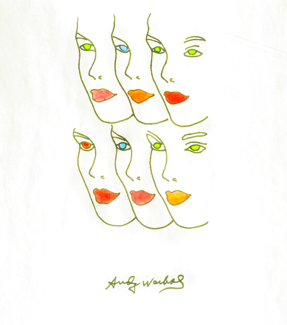 Womens' Faces Watercolor 1960 8x8 Watercolor by Andy Warhol