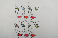 Womens' Faces Watercolor 1960 8x8 Watercolor by Andy Warhol - 4
