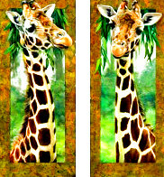 Curious Giraffe I and II   2005 46x20 Original Painting by Val  Warner - 0