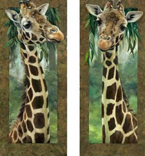 Curious Giraffe I and II   2005 46x20  Original Painting - Val  Warner