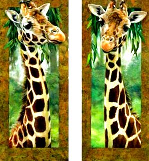 Curious Giraffe 1 and Curious Giraffe Set of 2 AP 2005 Embellished Limited Edition Print - Val  Warner