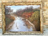 Autumn Along the Brazos 1982 43x55 Original Painting by Hal Warnick - 1