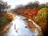 Autumn Along the Brazos 1982 43x55 Original Painting by Hal Warnick - 0