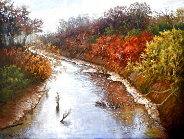 Autumn Along the Brazos 1982 43x55 Original Painting - Hal Warnick