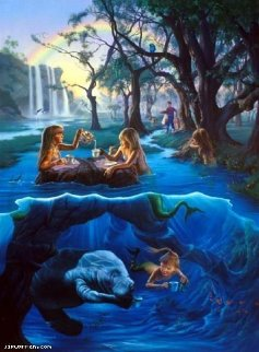 Mermaid Tea Party 2000 30x40 Huge Limited Edition Print - Jim Warren