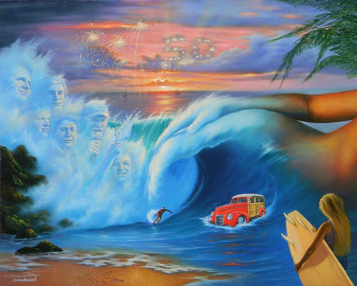 Beach Boys 50th Anniversary 2010  - Rare - Embellished Limited Edition Print by Jim Warren