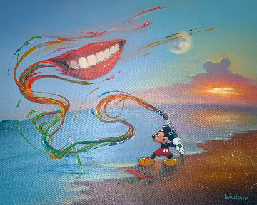 Mickey Paints a Smile 2009 20x24 Disney Original Painting by Jim Warren