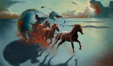 Running Wild, Rare Early Work 20x30, 1977 Original Painting - Jim Warren