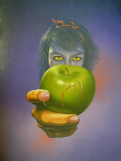 Green Apple 1980 23x17 Original Painting by Jim Warren