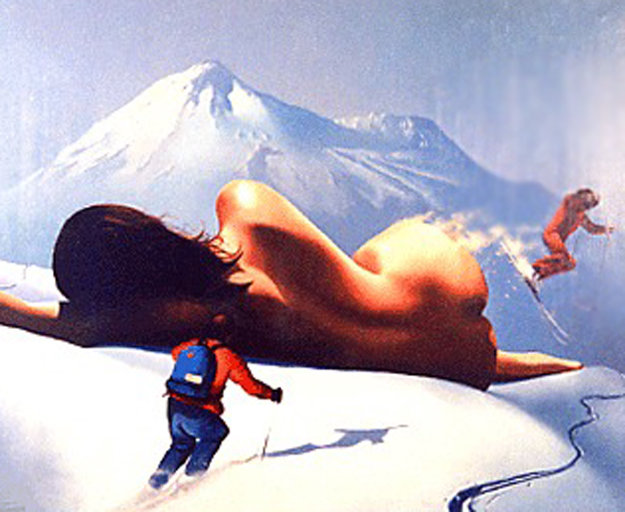 On  the Slopes 1986 25x31 Original Painting by Jim Warren