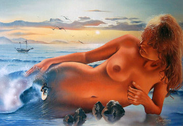Surfers Dream 1970 24x34 Original Painting - Jim Warren
