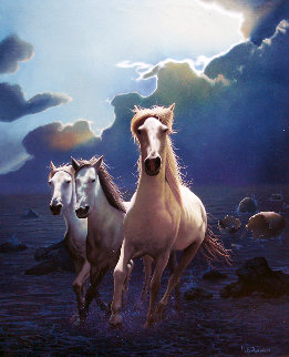 Untitled Horses 1980 24x20 Original Painting - Jim Warren