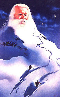 Snowman 1982 24x34 Original Painting - Jim Warren