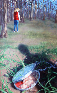 In the Woods 1988 22x16 Original Painting - Jim Warren