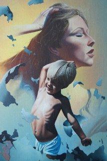 Mother Earths Child 1981 26x32 Original Painting by Jim Warren