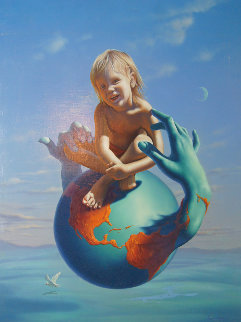 Peace on Earth 1990 26x32 Original Painting by Jim Warren