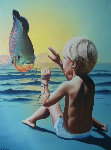 First Catch 1982 30x36 Original Painting - Jim Warren