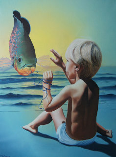 First Catch 1982 30x36 Original Painting - Jim Warren