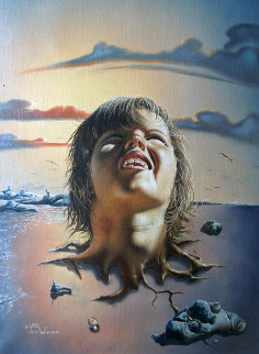 Mothers Child 1978 26x32 Original Painting - Jim Warren