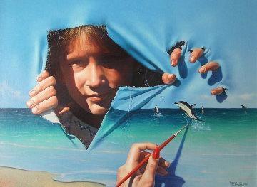 Break Through 1989 28x22 Original Painting - Jim Warren