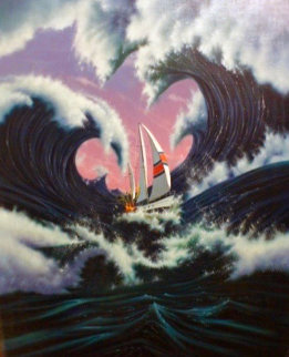 Sea Storm 1990 32x36 Original Painting - Jim Warren