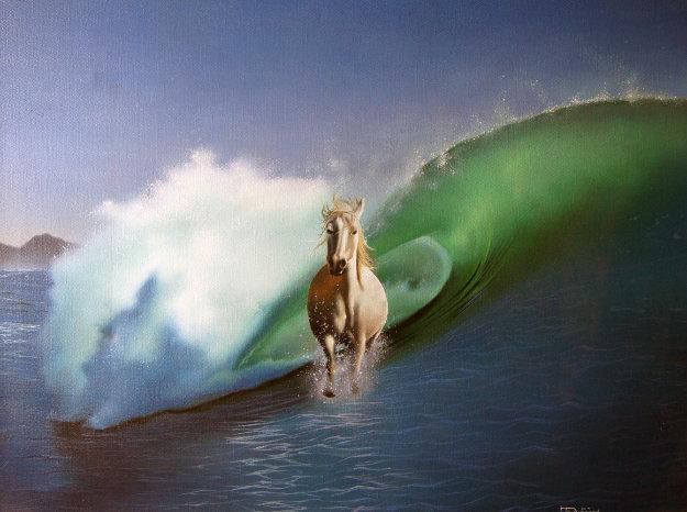 Sea Horse 1978 28x22 Original Painting by Jim Warren