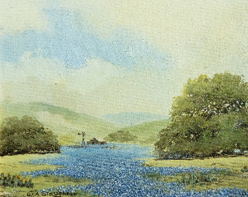 Untitled Bluebonnet Painting 1 1950 10x12 (Early) Original Painting by W.A. Slaughter
