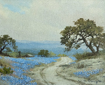 Untitled Bluebonnet Painting 1950 12x14 Original Painting - W.A. Slaughter