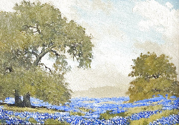 Untitled Painting 1969 9x11 (Blubonnets) Original Painting - W.A. Slaughter