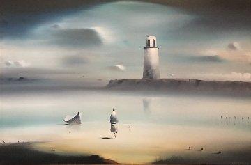 Lighthouse 1974 33x43 (Early) Huge Original Painting - Robert Watson